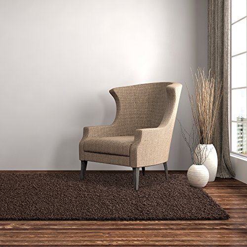iCustomRug Dixie Cozy Soft And Plush Pile, 4ft0in x 6ft0in (4X6) Shag Area Rug In Chocolate ()