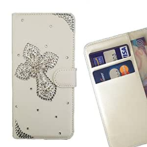 FOR Samsung GALAXY Grand 2/G7106 Cross Bling Bling PU Leather Waller Holder Rhinestone - - OBBA