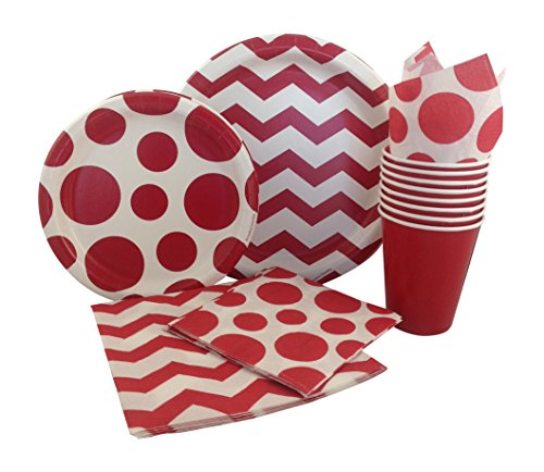 red and white party supplies - 3