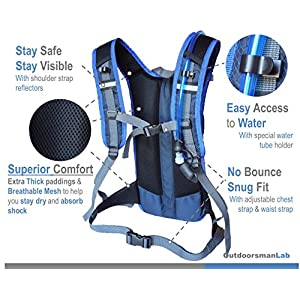"Hydration Pack Water Backpack with 70 Oz / 2L BPA-Free Bladder for Running, Ski, Hiking, Bike. Great Lightweight Day Pack Bag Fits Men Women Kids with Chest Size 27"" to 50"" (Black + 2L Bladder)"