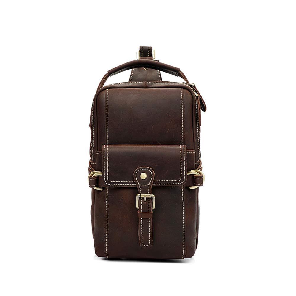 Brusttasche für Männer Herren Casual Chest Bag Große Kapazität Leder Schulter Tote Handtasche Crossbody (Farbe : Kaffee)