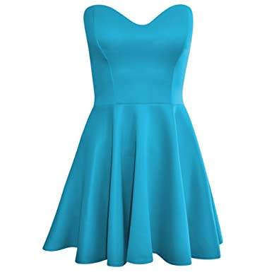 5f515952a5f Boobtube Padded Flared Pleated Skater Skirt Prom Dress Womens Size 14  Turquoise  Amazon.co.uk  Clothing