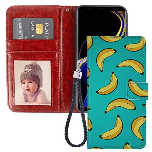 (Samsung Galaxy Note 9 Wallet Case Banana Pattern Pattern Design Protective PU Leather Flip Cover with Credit Card Slots and Side Cash Pocket+Magnetic Clasp Closure)
