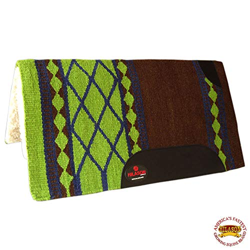 HILASON Made in USA Western Wool Felt Saddle Blanket Pad Brown Lime Green