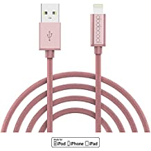 dodocool Lightning Cable MFi Certified 10ft Braided Lightning to USB Charge and Sync Cable for iPhone 7 Plus/7/SE/6s Plus/6s/6 Plus iPad and More (Rose)