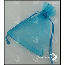 Ainest 25/100 pcs Organza Gift Bags Pouches Wedding Favour Sheer Jewelry Candy Bags Lot Turquoise Aqua Blue 7X9cm Small Bags 100PCS