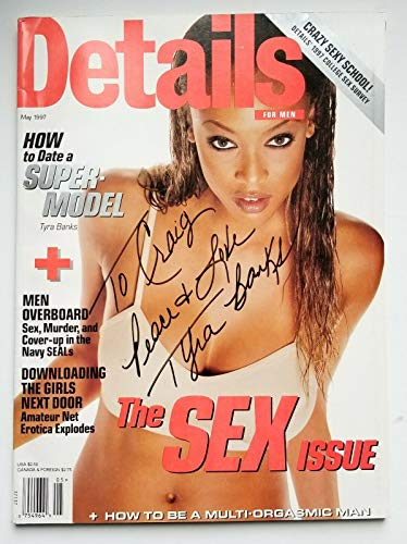 Tyra Banks model REAL hand SIGNED May 1997 Details Magazine COA ()