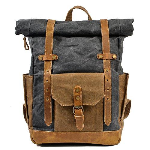 Mochila de lona de algodón exterior vintage, Viajes Trekking Camping Mochila Pack, Gran mochila casual, Cera impermeable, impermeable y transpirable, resistente al desgaste College poliéster estilo ca gray