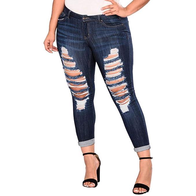 JESFFER Women Ripped Jeans Plus Size Pockets Long Jeans ...