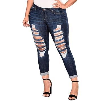 TWBB Pantalones de Mujer, Talla Grande, Pantalones Vaqueros ...