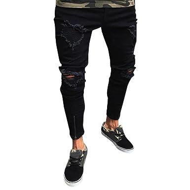 b8273f5838cbf2 Qmber Hosen Herren Jeans Destroyed Slim fit Hose Herren Jeans Destroyed  Sommer Hosen Herren Jogger Jeans