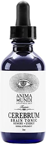 Anima Mundi Cerebrum Brain Tonic – Adaptogenic Drops for Memory Cognition Support with Lion s Mane Mushroom Extract Ginkgo, Gluten-Free Non-GMO 2oz 60ml