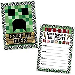 Pixel Mining Birthday Party Invitations for Kids (20 Count with Envelopes) - Pixel Party Invites for Boys and Girls - Pixel Mining Party Supplies - Kids Birthday Invitations