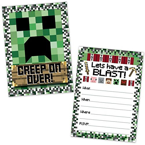 Pixel Mining Birthday Party Invitations for Kids (20 Count with Envelopes) - Pixel Party Invites for Boys and Girls - Pixel Mining Party Supplies - Kids Birthday Invitations ()