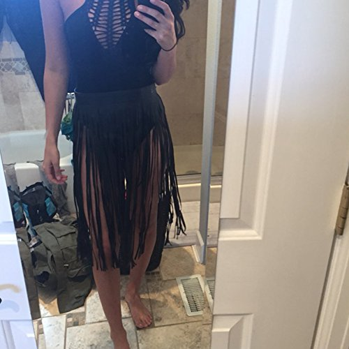 c94fa0f384da iShine Women's Leather Fringe Dress Belt Gypsy Style Tassel Belt ...