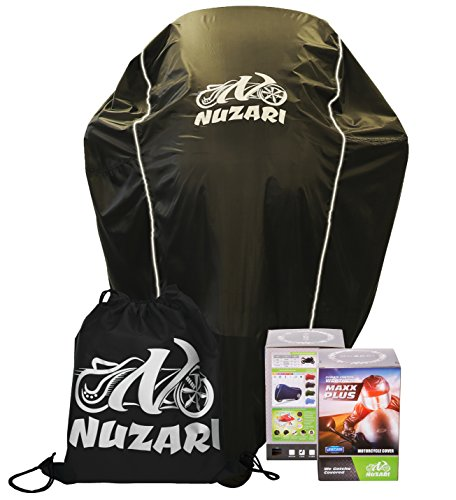Nuzari Waterproof Polyester Outdoor Motorcycle Cover, Extra Large - Black by Nuzari