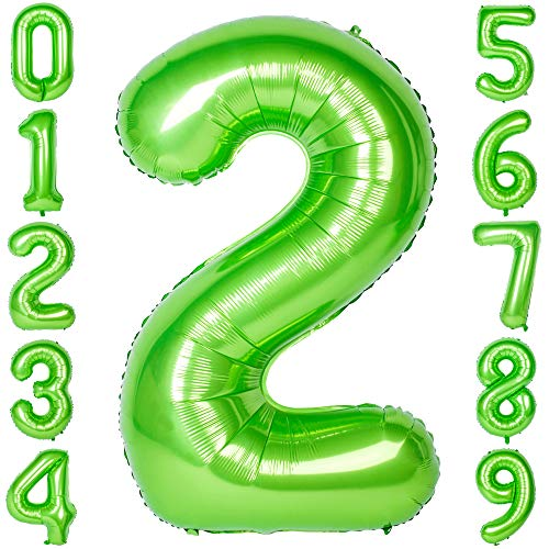 40 Inch Big Number Balloons Green Mylar Foil Large Number 2 Giant Balloon Birthday Party ()