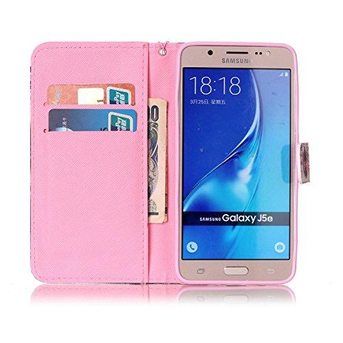 Para Smartphone Samsung Galaxy J5(2016) J510móvil, Funda de piel para Samsung Galaxy J5(2016) J510Flip Cover Funda Libro Con Tarjetero Función Atril magnético + Polvo Conector negro 3 9