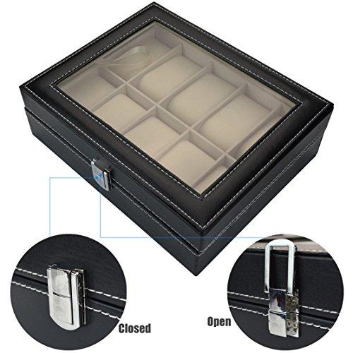 Aketek Watch Box 10 Mens Black Leather Display Glass Top Jewelry Case Organizer by Aketek (Image #6)