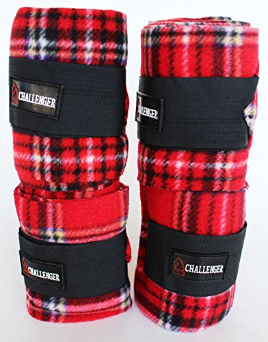 (CHALLENGER Horse Tack Grooming Leg Set of 4 Fleece Polo Wrap Bandages Red Plaid 95R19)