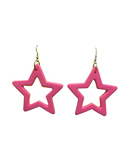 21ee01c31dc91 Amazon.com: 80's Star Earrings Hot Pink: Clothing