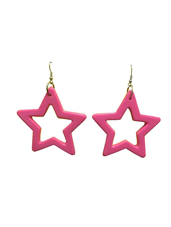 dangling painted women for trendy earing pink hoop metal large rock neon fashion item big round punk earrings circle