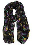 S-7300-06 New Orleans Mardi Gras Oblong Scarf - Black