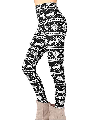 Twotwowin Women Christmas Leggings Workout Footless Yoga Stretchy Pants Casual Printed Funny Costume Tights (Cotton&Polyester 06, X-Large)
