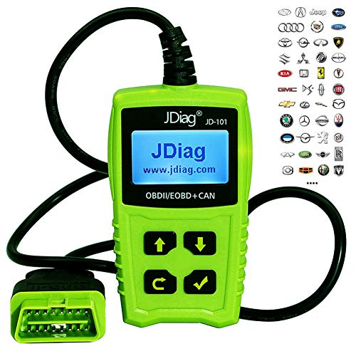 (JDiag JD101 Universal Code Readers Engine Scan Tool Check Engine Light Car Diagnostic Tool OBD2 Scanner with Battery Test)