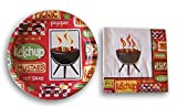 Outdoor Grilling Barbecue Party Supply Kit - Plates and Napkins