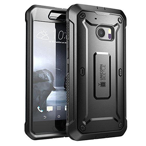 (SUPCASE HTC 10 Case, Full-Body Rugged Holster Case with Built-in Screen Protector for HTC 10 (2016 Release), Unicorn Beetle PRO Series (Black/Black))