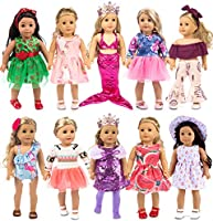 ebuddy 10-Sets Fashion Doll Clothes and Accessories with Popular Elements Horn Style,Unicon,Flamingo,Mermaid,Princess...