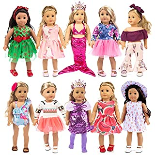 ebuddy 10-Sets Fashion Doll Clothes and Accessories with Popular Elements Horn Style,Unicon,Flamingo,Mermaid,Princess Dress for 18 inch American Girl Doll,Most 18 Girl Dolls