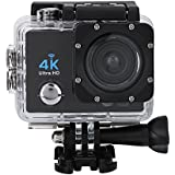 Acouto Sports Action Camera,4k 12MP front Flash Camcorder 140°Angle with Remote Controller,Waterproof Housing Case,Adapter Bracket,USB Cable,US Plug and more Accessories Kits (Black)
