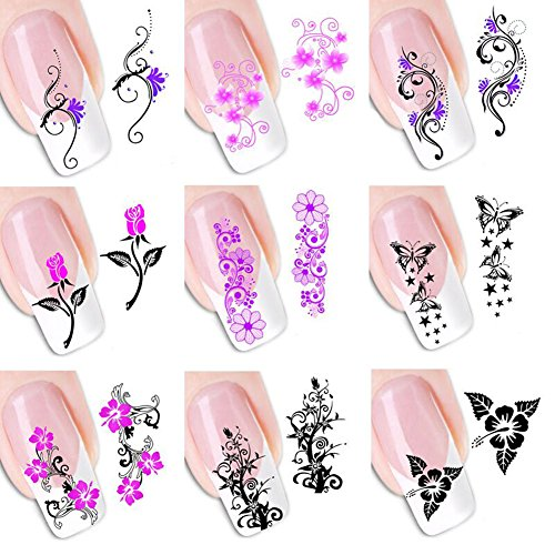 - 5 Sheets of Mixed Color Ultrathin 3D Design Watermark Decals Nail Art Sticker Tip Decal Manicure for Fingernails And Toenails Color by Random