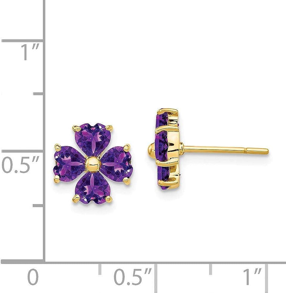 Mia Diamonds 14k Yellow Gold Heart-shaped Amethyst Flower Post Earrings