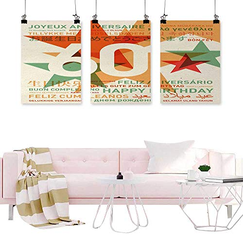 Denruny Triptych Wall Art 60th Birthday,World Cities Birthday Party Theme with Abstract Stars Print,Green Vermilion and White Wall Pictures Canvas Painting -