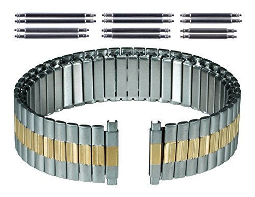 Gilden Gents Expansion 17-22mm Extra-Long Two-Tone Stainless Steel Watch Band 534-TL