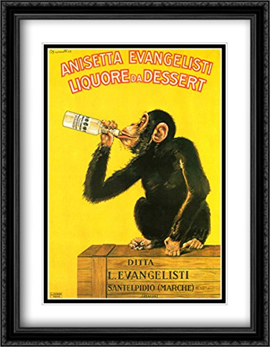 Anisetta Monkey 2X Matted 28x38 Large Black Ornate Framed Art Print by Carlo Biscaretti