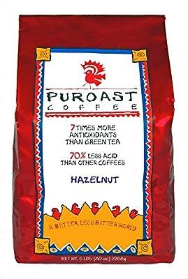 Puroast Low Acid Coffee Hazelnut Flavored Coffee Whole Bean, 5-Pound Bag