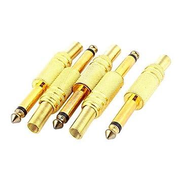 DealMux 5 Pcs ouro 6,35 milímetros Tone Masculino de Áudio Coaxial Cable Connector Adapter