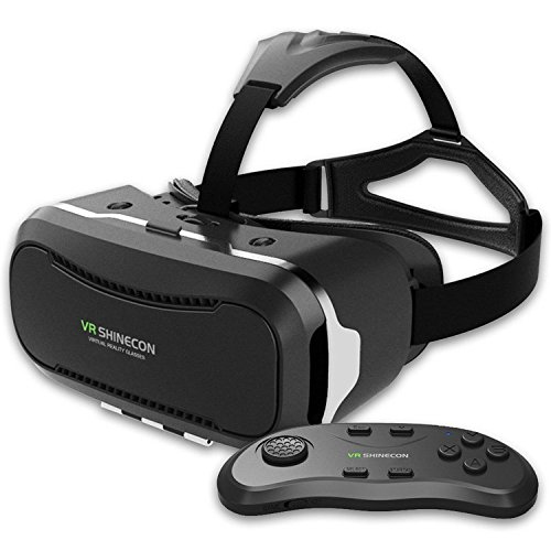 Shinecon 2.0 VR 3D Headset Iphone Virtual Reality Glasses With Remote Control Suitable for Google, iPhone, Samsung Note, LG, Huawei, HTC Smartphone