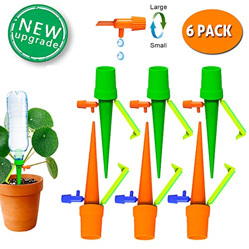 TAOPE 6 PCS Adjustable Plant Self Irrigation Watering Spikes System with Slow Release Control Valve Switch ()