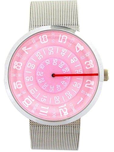 SHVAS Pink Round Dial Unique Concept Mystery Watch with Mesh belt for women & girls (SIRPINK)