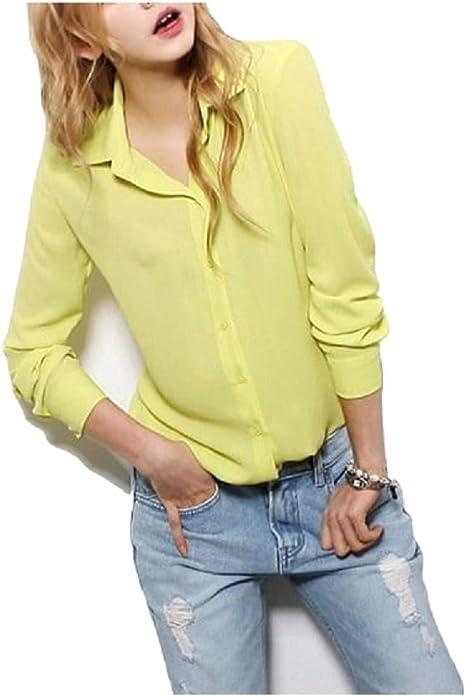 Heeecgoods Camisa de Manga Larga para Mujer Chifón de Fluido Casual Elegante Blusa clásica (Color : Amarillo, tamaño : SG): Amazon.es: Hogar