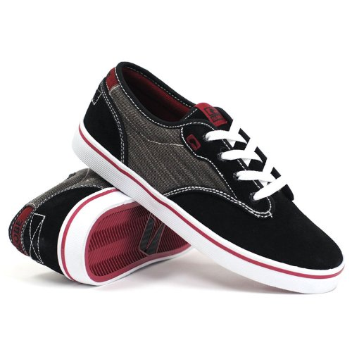 Globe Skateboardschoenen Motley Zwart / Donkerrood Maat 7.5