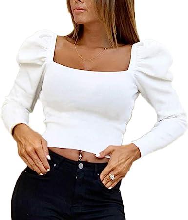 Mujer Otoño Camiseta - Sexy Slim Fit Blusa Cuello Cuadrado Crop Tops Moda Manga Larga Color Sólido Casual Camisas Corta Básica T-Shirt: Amazon.es: Ropa y accesorios