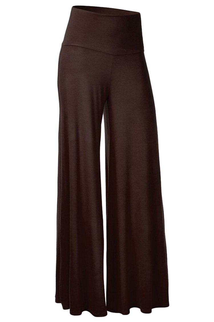 AuntTaylor Womens Classic Solid Color High Waist Wide Leg Palazzo Pants