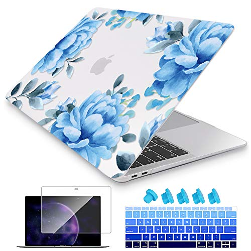 Price comparison product image Mektron for MacBook Air 13 inch Case A1932 Release 2018 with Retina Display & Touch Bar Hard Plastic Shell Silicone Keyboard Cover & HD Screen Protector,  Blue Flower