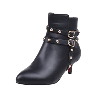 Agodor Womens Kitten Heel Pointed Toe Ankle Boots with Rivets Buckle  Elegant Warm Shoes e891c7815